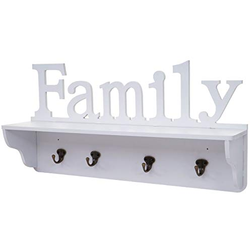 Mendler Wandgarderobe HWC-D41 Family, Garderobe Regal, 4 Haken massiv 30x60x13cm ~ weiß