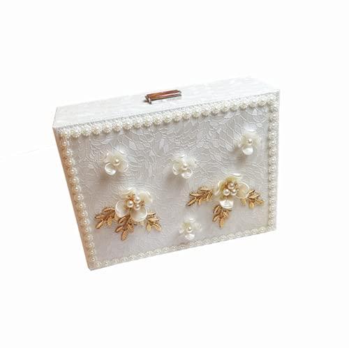 YXLM Caja de joyería de estilo europeo, caja de joyería de doble capa con almacenamiento de cerradura, caja de joyería casera de la princesa de la flor de la perla, A