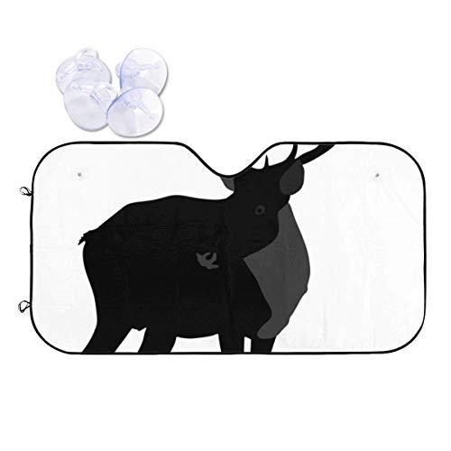 JONINOT Silueta de Ciervo aislada en Parasol de Coche Animal: Mantenga su vehículo Fresco, Reflector de Calor y Sol UV