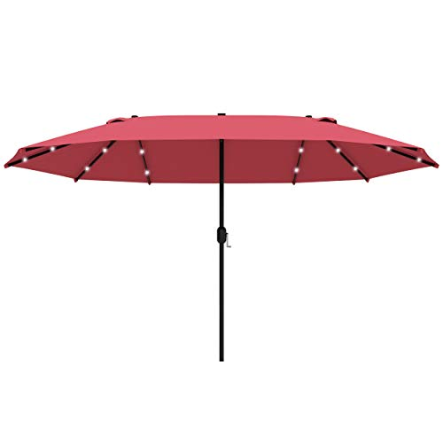 Outsunny 4.4m Double-Sided Sun Umbrella Garden Parasol Patio Sun Shade Outdoor with LED Solar Light, NO BASE INCLUDED, Wine Red