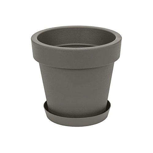 Pot de Fleur avec Soucoupe en Plastique Lofly, Classique, 25 cm diam, Gris