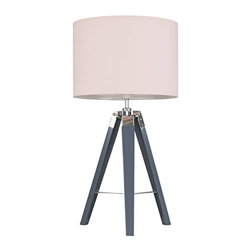 Modern Grey Wood and Silver Chrome Tripod Table Lamp with a Pink Cylinder Light Shade