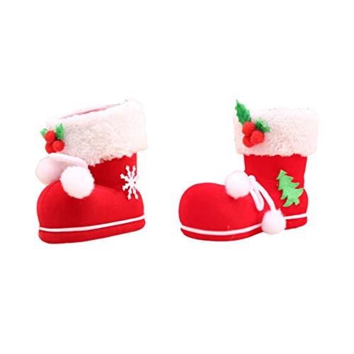 Amosfun 2 Stks Kerstmis Snoep Gift Boots Xmas Opknoping Santa Boots Decoratieve Laarzen Ornament Party Ophangen Ambachten voor Open Haard Venster Boom S+M