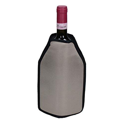 Kühlmanschette für Flaschen Weinkühler Sektkühler Flaschenkühler mit Klettverschluss (Silber)
