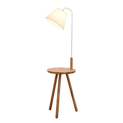 LLCX Lámpara de pie de Madera, Lectura luz de la habitación trípode diseño E27 Accesorio de iluminación con Interruptor de botón, Pantalla de Tela y Mesa de café Roble, (40 x H 140 cm),Oakwhiterod