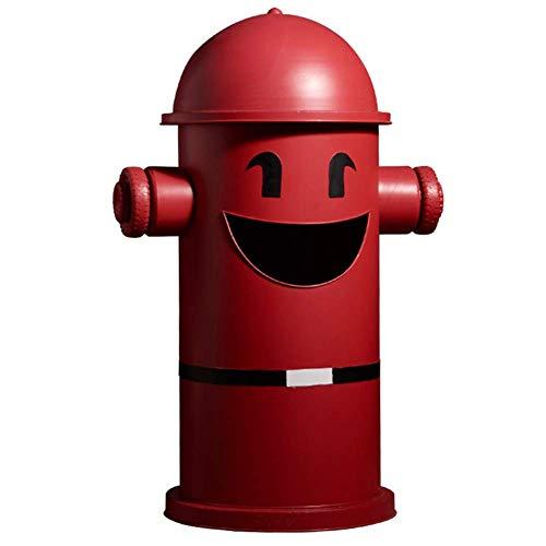 Papelera de basura, papelera vintage, papelera, papelera, decoración de hierro, bares, restaurantes, papeleras, adornos creativos retro, color rojo