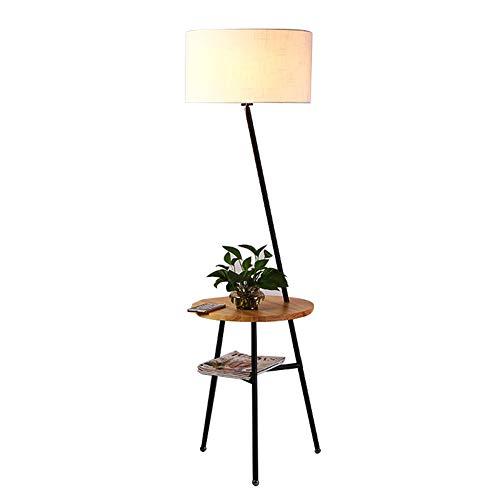 ZMLG Lampadaire Trepied Scandinave Creative, Lampe sur Pied Bois étagères avec Abat-Jour en Tissu Lampadaire de Lecture pour Chevet et Salon