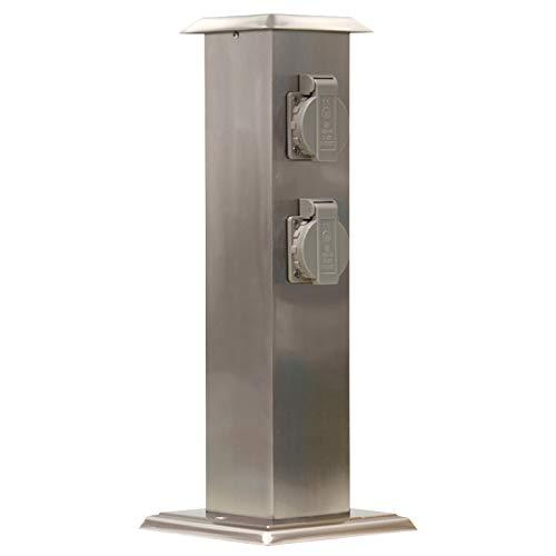 Grafner - Enchufe para jardín de acero inoxidable con 4 enchufes, IP54, rectangular, recubrimiento de pintura transparente, columna de energía, múltiples enchufes, para exterior, metal, 4 enchufes
