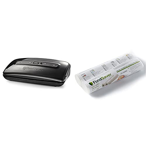 FoodSaver FFS002X Envasadora al vacío, 140 W, plástico, Negro + FSR2802 Rollos de...