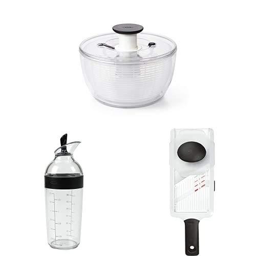 OXO Good Grips Centrifugadora para ensaladaL + Cerebro Dressing-Shaker, Negro, 350 ML + Mandolina rodajas c/Mango