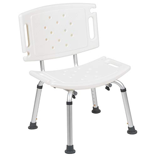 Flash Furniture HERCULES Series Tool-Free and Quick Assembly, 300 Lb. Capacity, Adjustable White Bath & Shower Chair with Extra Large Back