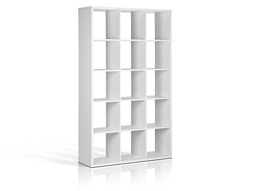 moebel-eins Maxi Regal mit 15 Fächern, Material Dekorspanplatte, Weiss