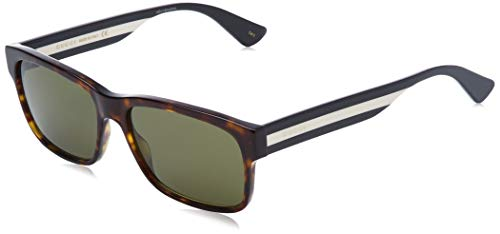 Brand: Gucci Model: Sensual Romantic; GG0340S Style: Fashion Rectangle Frame/Temple Color: Havana/Black/Ivory - 008 Lens Color: Green Size: Lens-58 Bridge-17 Temple-150mm Gender: Men's Made In: Italy