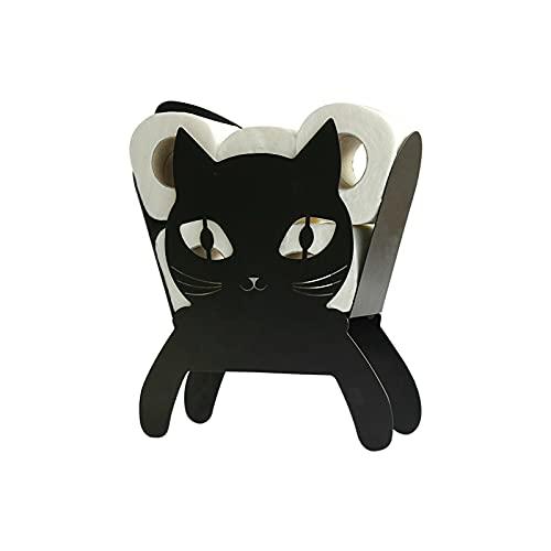 FHDD Tenedor de Rollo de Inodoro de Gato Negro Cuarto de baño de pie Gatito de Metal de Metal de pie.