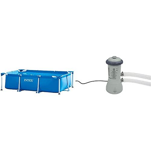 Intex Rectangular Frame Pool - Aufstellpool - 260 x 160 x 65 cm & Krystal Clear Cartridge Filter Pump - Pool Kartuschenfilteranlage - 900 L/H