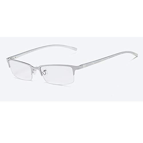 EYEphd 2021 Gafas de Lectura multifocal progresiva de los Hombres, HD Lentes fotosensibles Señora Lector/Marco Rectangular UV dioptrías +1,0-+3,0,Plata,+1.0
