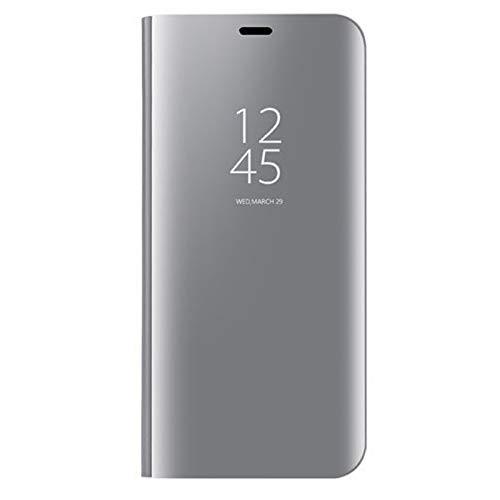 coque Funda adecuada para Samsung Galaxy S30 Plus/Clear View Stand Case Case Case Cover Espejo Smart Flip Cover Cover - Plata