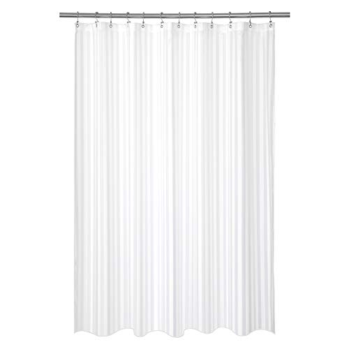 Barossa Design Waterproof Fabric Shower Curtain or Liner Standard Size, Machine Washable, Weighted Bottom, Hotel Style with White Satin Stripes, 72x72 inches