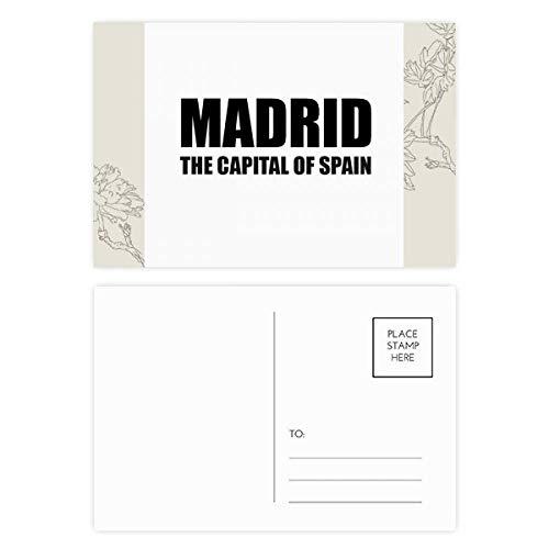 DIYthinker Madrid Die Hauptstadt von Spanien-Blumen-Postkarte Set dankt Karte Mailing Side 20pcs 5.7 Zoll x 3.8 Zoll Mehrfarbig