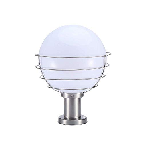 White Ball Gate Post Lights Garden Globe Post Table Light E27 Acrylic Ball Lantern Victorian Outdoor Waterproof Column Pillar Lamps IP65 Safety Post Bollard Light Lawn Swimming Pool Torch Lamps