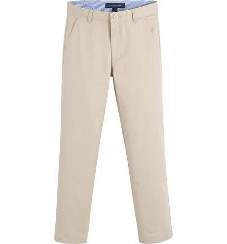 Tommy Hilfiger Big Flat Front Twill Blend Boys Dress Pants, Kids School Uniform Clothes with Husky and Slim Sizes, Khaki, 14