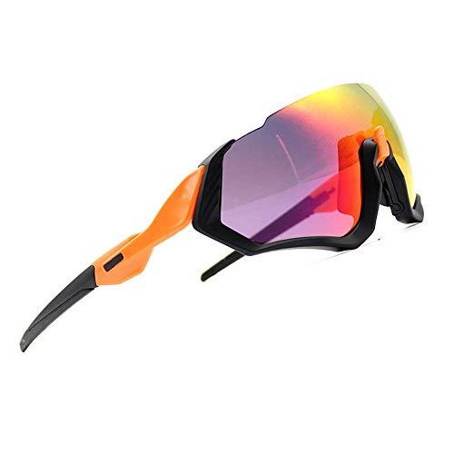 2018 Nuovi Occhiali da Sole Ciclismo Kit 3LS Revo + polarizzati + Trasparenti (Cornice Nera + Gamba Arancione)