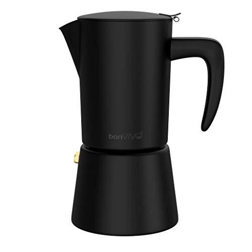 bonVIVO Intenca Espressokocher Induktion geeignet - Edelstahl Kaffeekocher in Schwarz Matt m. Wasserkessel, Sieb – Mokkakanne 2, 4, 6 Tassen, 100-300ml