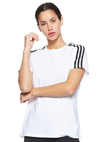 adidas Damen T-Shirt Design 2 Move 3-Streifen, White, S, DS8723