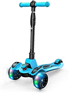 Kick Scooters Kids Scooters Three Wheel Scooter Mini 3-Wheeled Micro Scooter for Kids with Colored Lights Folding Ages 2-12 (Color : Blue, Size : 325682CM)