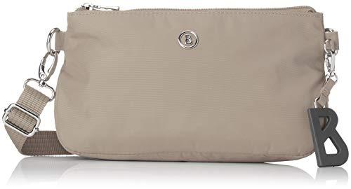 Bogner Damen Handtasche Verbier Kata mit Reißverschluss Schultertasche mit verstellbarem Gurt, Beige (Taupe), 7x14x23 cm