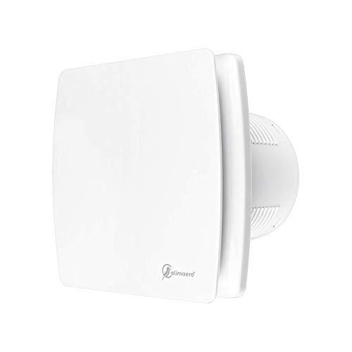 Baño Extractor 4 pulgadas de 100 mm con sensor de humedad del temporizador y Backdraft Damper 100 m³ / h 32 dB IPX4 Blanco