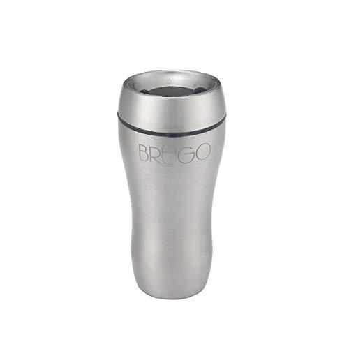 BruGo™ Thermobecher aus Edelstahl mit integrierter Temperaturkontrollkammer, doppelwandig, isoliert, perfekt für Tee- und Kaffeeliebhaber, Tiefschwarz