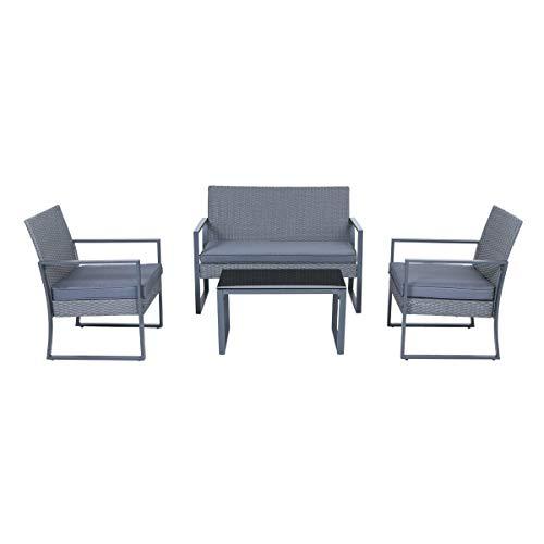 SVITA LOIS XL Poly Rattan Sitzgruppe Gartenmöbel Metall-Garnitur Bistro-Set Tisch Sessel grau