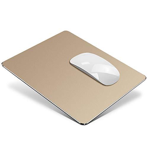 Vaydeer Metall Mauspad Aluminium Mousepad doppelseitig verfügbares Design, Hartes Mouse Pad Mat Padwasserdicht für Spiele und Büro (Klein, Gold, 23x18 cm)