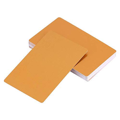 100 Pcs Blank Sublimation Metal Name Card Thick Laser Metal Name Card Printing Blank Business Card Use Sublimation Ink And Paper (Yellow)