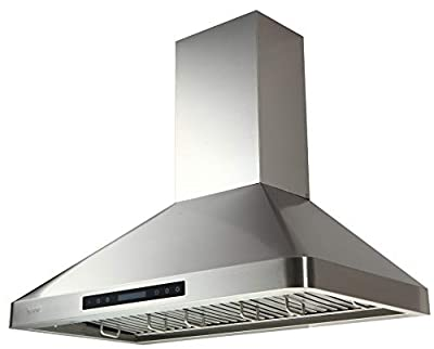 "EKON Wall Mount Range Hood 36in,Ducted/Ductless Convertible Range Hoods Stainless Steel 900CFM with 4 Speeds Touch Control LCD Display,Delay Shut Off Function,Dishwasher Baffle Filters (NAP02-R-36"")"