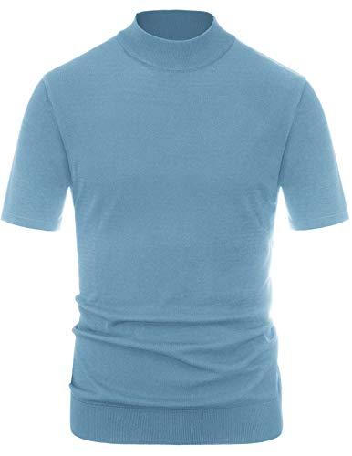 Mens Lightweight Short Sleeve Sweater Mock Neck Pullover Sweater Tops Blue, XXL