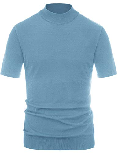 PJ PAUL JONES Mens Mock Neck Solid Pullover Knitwear Short Sleeve Turtleneck Sweater Blue S