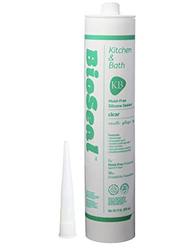 BioSeal Clear 100 Percent Silicone Sealant Caulk Kitchen and Bath Grade, Waterproof and No Mold/No Odor 10.1 Ounce Cartridge, Clear, (Pack of 1)