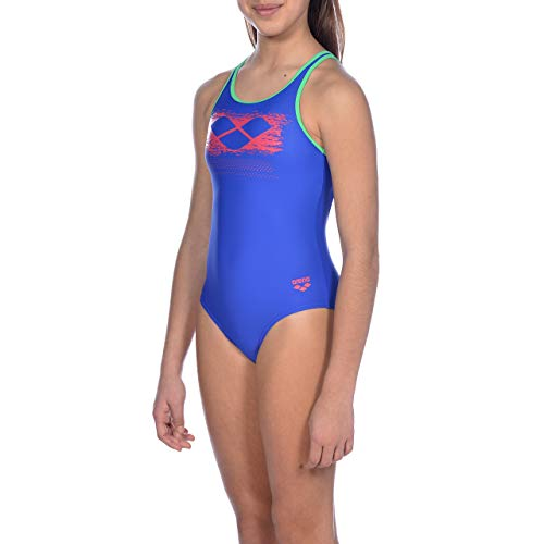 ARENA Mädchen Sport Badeanzug Scratchy, neon Blue-Golf Green, 128
