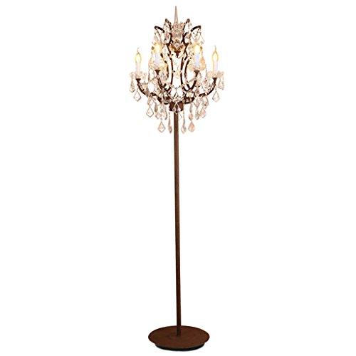 LOFAMI Lampe de plancher en verre coupe Country rétro, lampe de 6 bougies debout, Shabby Metal Cafe, salon, lampe de plancher de chambre à coucher, couleur rouille, 180cm × 55cm