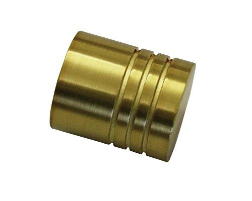 GARDINIA Endknöpfe für Gardinenstangen, 2 x Endstück Zylinder, Serie Chicago, Metall, Messing-Antik, Durchmesser 20 mm