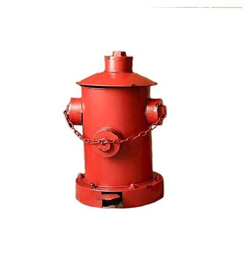 Poubelle Vent Industriel Poubelle Peut Bouche d'incendie Poubelle Poubelle en Fer forgé décoration Bar Restaurant avec Couvercle Poubelle Bacs à déchets (Color : Red)