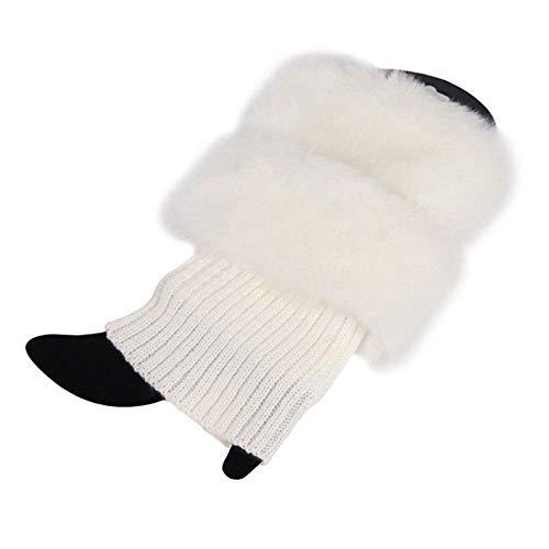 Vpuquuz Frauen Gestrickte Boot Manschette Socken Wolle Legwarmers Beinwärmer Topper Damen Winterwärmer Fuß Handgelenk warme Flauschig Socken Stulpen (Weiß)