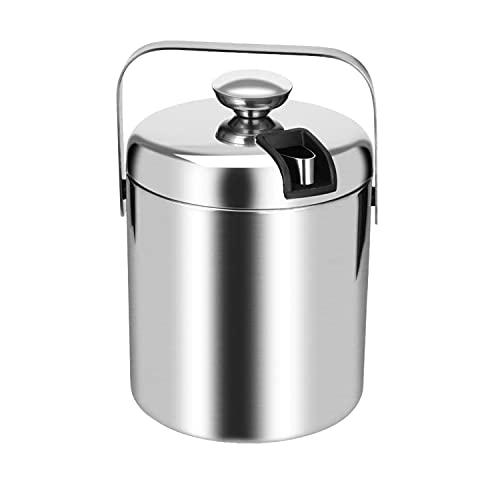 Bobeen Eiswürfelbehälter mit Zange und Deckel, 1,3 Liter Edelstahl Eiseimer Doppelwandig Isoliert Eiskübel