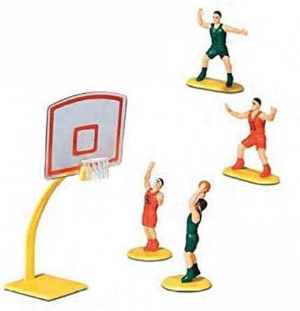 WFD Kit de decoración para tartas y dulces de baloncesto – 5 unidades – Canasta y jugadores