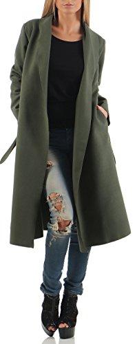 Malito Lungo Cappotti Cascata-Design Cardigan Basic 3050 Donna Taglia Unica (Oliva)