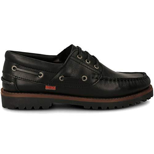PAYMA - Chaussures Bateau Sport pour Homme Femme Enfant Garçon Unisexe en Cuir. Grandes Tailles. Fermeture Lacets et Velcro. Semelle en Caoutchouc. Noir 42 EU