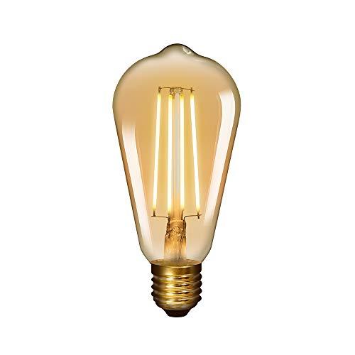 Lampara Bombilla Edison de LED de Filamento E27 6W ST64 Vintage Retro Antigua Luz Calida 2400K Equivalente 60W Bombillas Incandescentes AC220-240V Pack de 1 de Enuotek