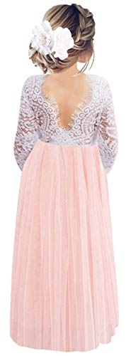 2Bunnies Girl Peony Lace Back A-Line Straight Tutu Tulle Party Flower Girl Dresses (Pink Sleeve Maxi, 5)